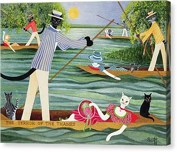Those Summer Punts Oil On Canvas Canvas Print by Pat Scott