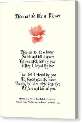 Thou Art So Like A Flower Canvas Print