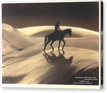 Canvas Print featuring the drawing Though I Ride Through The Valley by Anastasia Savage Ealy