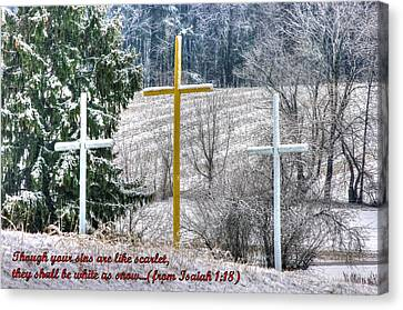 Though Your Sins Are Like Scarlet - They Shall Be White As Snow - From Isaiah 1.18 Canvas Print by Michael Mazaika