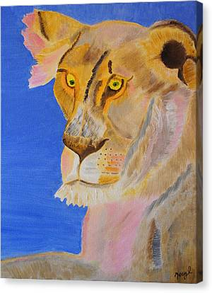 Thoughts Of A Feline Canvas Print by Meryl Goudey