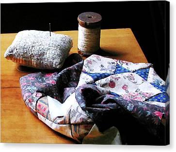 Thread Pincushion And Cloth Canvas Print