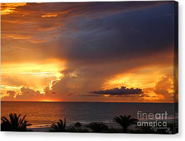 Canvas Print featuring the photograph Threatening Sunset by Mariarosa Rockefeller