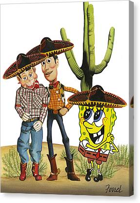 Canvas Print featuring the painting Three Amigos by Ferrel Cordle