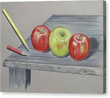 Three Apples Canvas Print by Gina Gahagan