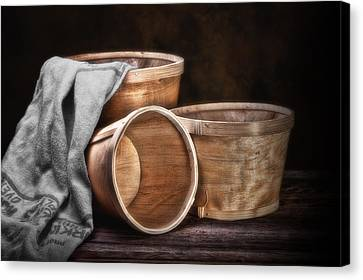 Three Basket Stil Life Canvas Print by Tom Mc Nemar