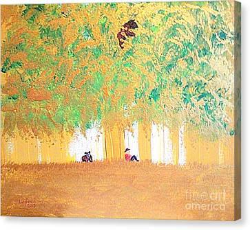 Growling Canvas Print - Three Bears 1 by Richard W Linford