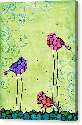 Country Cottage Canvas Print - Three Birds - Spring Art By Sharon Cummings by Sharon Cummings