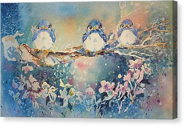 Canvas Print featuring the painting Three Blue Birds by Mary Haley-Rocks