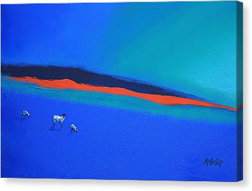 Three Blues And A Red Canvas Print by Neil McBride