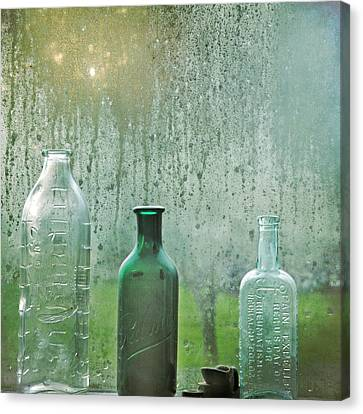 Canvas Print featuring the photograph Three Bottles by Sally Banfill