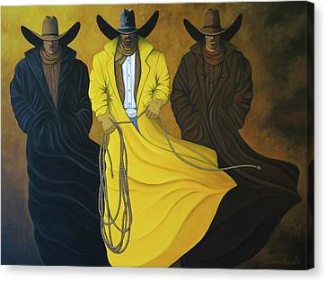 Contemporary Cowgirl Canvas Print - Three Brothers by Lance Headlee