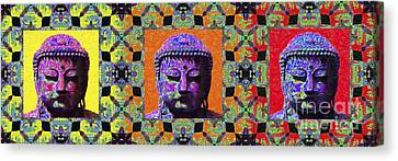 Three Buddhas 20130130 Canvas Print by Wingsdomain Art and Photography