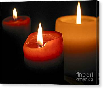 Candle Lit Canvas Print - Three Burning Candles by Elena Elisseeva