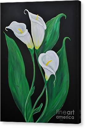 Canvas Print featuring the painting Three Calla Lilies On Black by Janice Rae Pariza