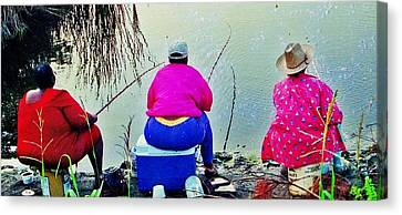 Three Cane Poling Women With Purses Canvas Print by Patricia Greer