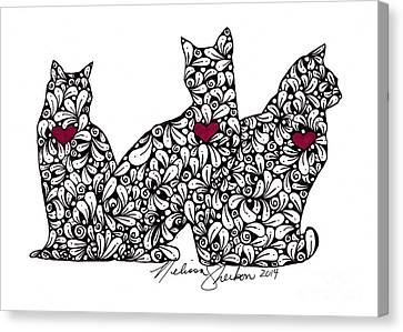 Canvas Print featuring the drawing Three Cats by Melissa Sherbon