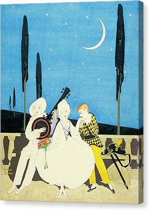 Night Sky Canvas Print - Three Characters Wears Pierrot by Arthur Finley