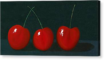 Three Cherries Canvas Print by Karyn Robinson