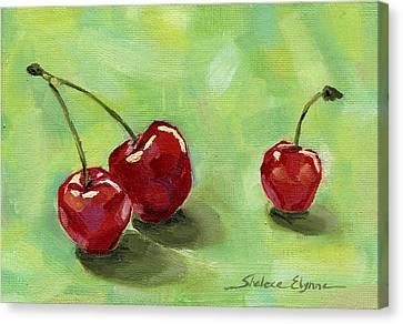Three Cherries Canvas Print by Shalece Elynne