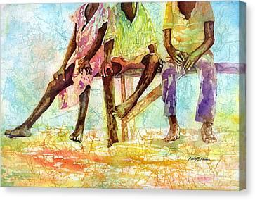 Three Children Of Ghana Canvas Print by Hailey E Herrera