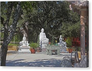 Budda Canvas Print - Three Chinese Statues by Linda Phelps