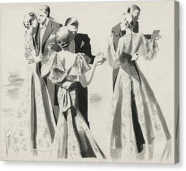 January Canvas Print - Three Couples Dancing by Pierre Mourgue