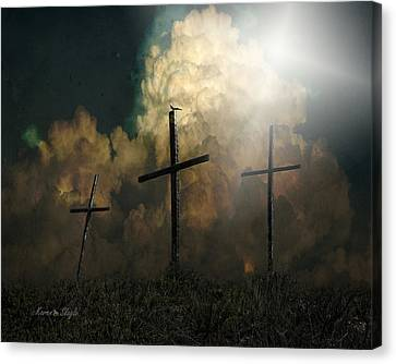 Crucify Digital Art Canvas Print - Three Crosses And A Dove by Karen Slagle