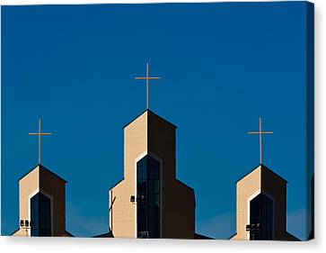 Canvas Print featuring the photograph Three Crosses Of Livingway Church  by Ed Gleichman