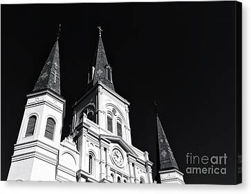 Three Crosses On The Cathedral Mono Canvas Print by John Rizzuto