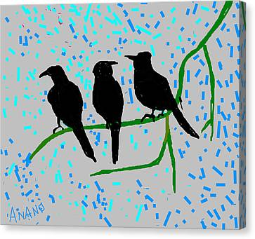 Three Crows Canvas Print by Anand Swaroop Manchiraju