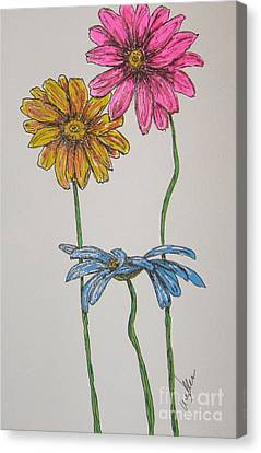 Three Daisies Canvas Print