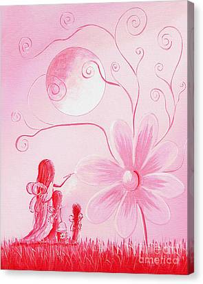 Flower Pink Fairy Child Canvas Print - Pink Art Prints By Shawna Erback by Shawna Erback