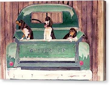 Three Dogs And A Truck Canvas Print