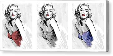 Three Faces Of Marilyn Canvas Print