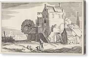 Three Figures Conversing At An Inn, Jan Van De Velde II Canvas Print by Jan Van De Velde (ii)