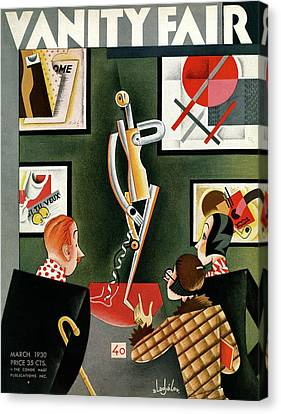 Three Figures Looking At A Modern Sculpture Canvas Print by Constantin Alajalov