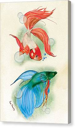 Three Fish Canvas Print by Anne Beverley-Stamps