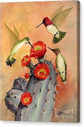 Male Hummingbird Canvas Print - Three For Breakfast by Marilyn Smith