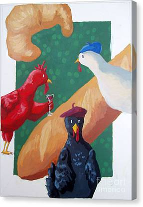 Three French Hens Canvas Print by Whitney Morton