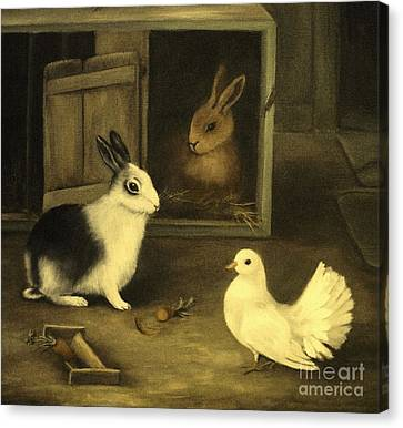 Three Friends Sharing A Moment Canvas Print by Hazel Holland