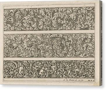 Three Friezes With Leaf Tendrils, Anonymous Canvas Print by Anthonie De Winter