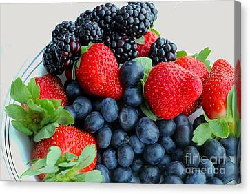Three Fruit 2 - Strawberries - Blueberries - Blackberries Canvas Print by Barbara Griffin