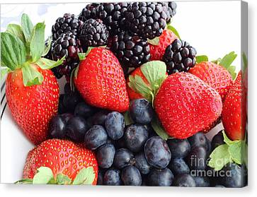 Three Fruit Closeup - Strawberries - Blueberries - Blackberries Canvas Print by Barbara Griffin