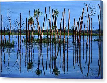 Three Gators Canvas Print by AnnaJo Vahle