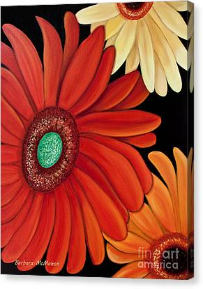 Canvas Print featuring the painting Three Gerbera by Barbara McMahon