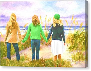 Three Girls At The Beach Canvas Print