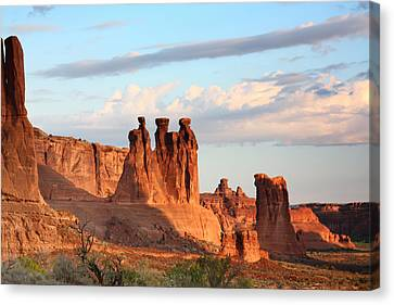 Three Gossips In Arches National Park Canvas Print