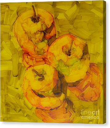 Three Green Apples Modern Art Canvas Print by Patricia Awapara