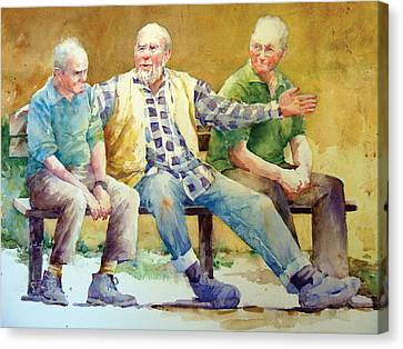 Three Guys On A Bench Canvas Print by Janet Flom